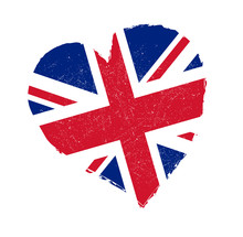 United Kingdom Flag In Grunge Heart Shape. Love Great Britain Symbol