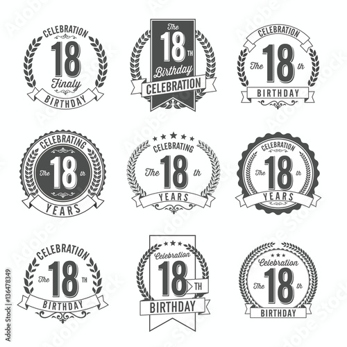 Photographie  18th Birthday Celebration. Set of Birthday Badges.