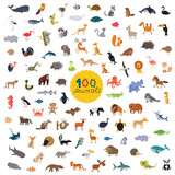 Fototapeta Fototapety na ścianę do pokoju dziecięcego - set a hundred animals on the planet
