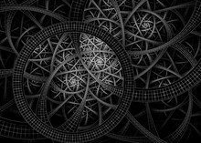 Black And White Abstract Fractal Rings Network Background - Fractal Art