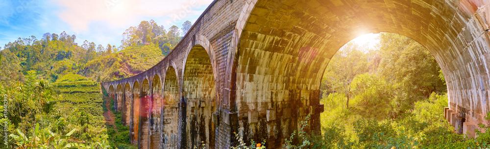 The nine arch railroad bridge in Demodara, Sri Lanka