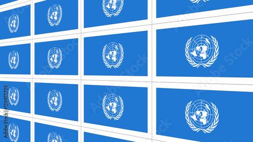 Fotografie, Obraz  Sheet of postcards with international flag of UN