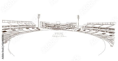 Carta da parati Sketch of cricket stadium in vector.