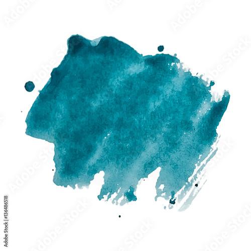 Fotografia, Obraz  Vector blue watercolor background