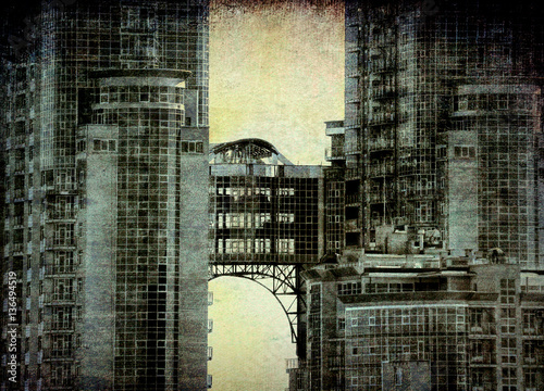 Bridge in the sky   - grunge  vintage   photo