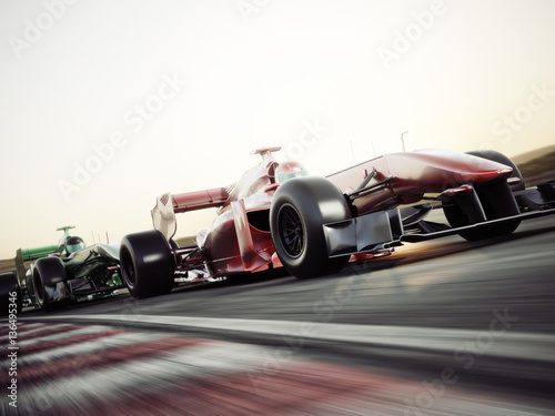 Photo sur Aluminium Motorise Motor sports competitive team racing. Fast moving race cars racing down the track . 3d rendering. With room for text or copy space