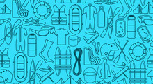 Vector Rafting Line Icons Background Texture Seamless Pattern