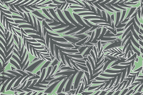 Ingelijste posters Tropische Bladeren Summer tropical palm tree leaves seamless pattern. Vector grunge design for cards, wallpapers, backgrounds and natural product.