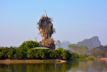 Kyauk Kalap (Kyaut Ka Lat) Pagoda In Hpa-An, Myanmar. Mount Zweg