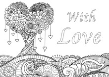 Love Tree On Floral Ground For Cards And Coloring Book Page