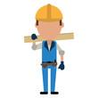 man construction wooden board and tool belt vector illustration