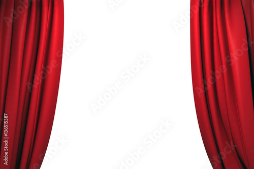 Open red stage curtains