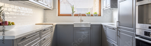 White and grey kitchen Canvas Print