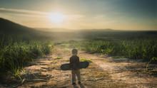 Little Child Holding Skateboard