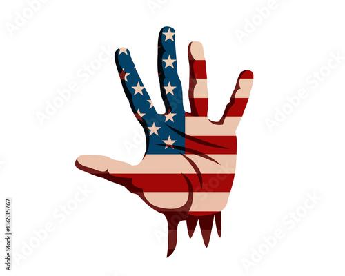 Fotografie, Obraz  United States Of America Humanity Freedom Illustration - American Hand Seeking F