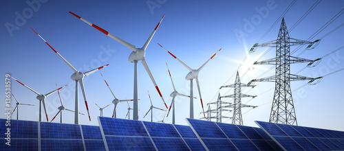 Konzept - Energiequelle Wind und Solar mit Stromleitungen Fototapete