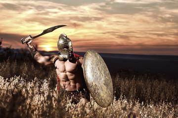 FototapetaWarrior in helmet with bare torso going in attack.