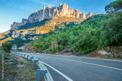Poster  Spain. Catalonia. Road in Santa Maria de Montserrat Abbey. Mount