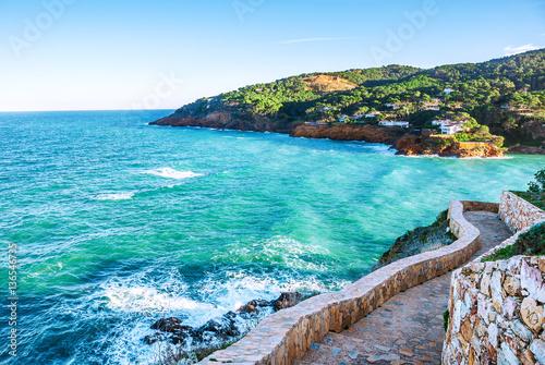 Spain. Costa Brava. La Sera. The picturesque promenade along the Fototapeta