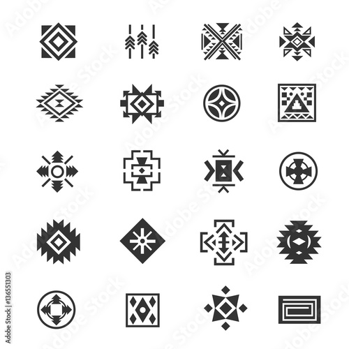 b78100a74cd6b Traditional tribal mexican symbols. Navajo ethnic culture vector tattoo  icons for print.