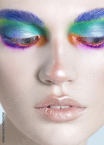 Fototapeta pretty girl beautiful colorful eyes make up close up beauty look down obraz na płótnie
