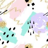 Wektorowy abstrakcjonistyczny retro wzór z błyskawicowymi śrubami i geometrycznymi elementami. Modne tło grzmotu Memphis w stylu komiksów. - 136556919