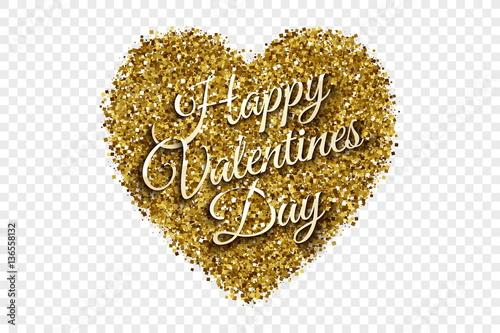 Happy Valentine S Day Illustration Golden Shiny Tinsel Square