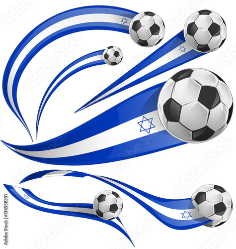 Poster  israel flag set with soccer ball