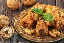 Traditional Arabic Dessert Baklava With Honey And Walnuts.