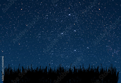 Fototapety, obrazy: background night sky with stars and moon