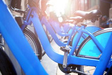 Commute Blue City Bikes Park Outside The Street In New Y.ork