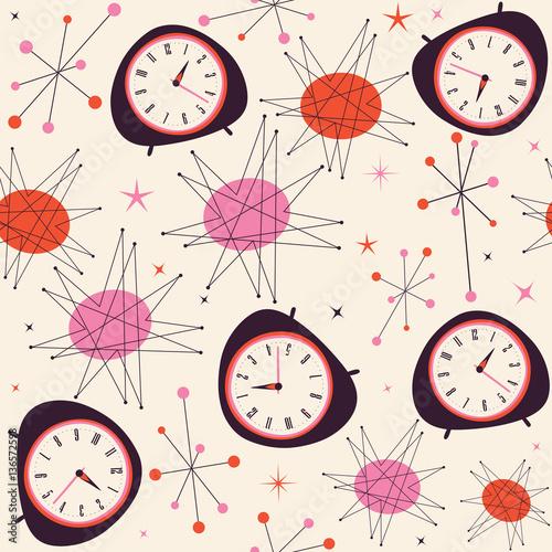 Poster  Mid Century Clock Pattern