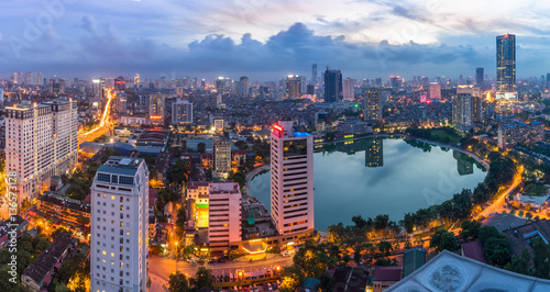 Fotografie, Obraz  Hanoi city by twilight period, with Giang Vo lake, Ba Dinh district