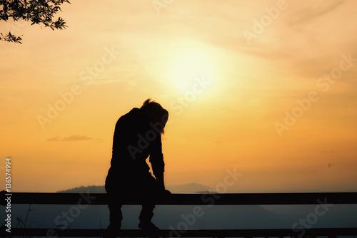 Fotografie, Obraz  sad man, sad concept