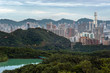 View of the Hong Kong skyline as seen from Kam Shan, Kowloon. Kam Shan is a mountain in Kam Shan Country Park, Northern Kowloon.
