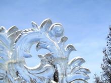 Transparent Ice Sculpture Against The Sky