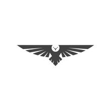 Eagle Logo, Silhouette Predator Hawk Bird Wide Wingspan Floating In The Air, Flying Animal Tattoo Emblem Mockup