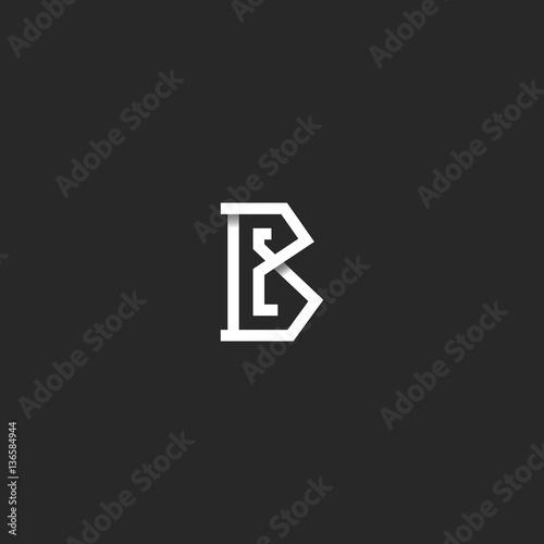 Letter B logo initial monogram idea, black and white angular overlapping line, s Wallpaper Mural