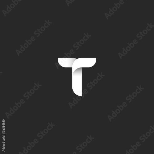 Letter T Logo Initial Symbol Black And White Gradient Overlapping Lines Monogram Emblem Mockup