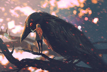 The Man Whispering The Big Crow On A Tree Branch,illustration Painting