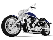 3d Render Blue Motorcycle On A...