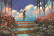 Leinwanddruck Bild - man standing on top of the steps in the park with crowd of butterflies,illustration painting