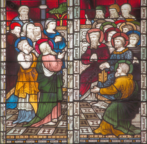 Poster Stained ROME, ITALY - MARCH 9. 2016: The scene St. Paul on the Council at Jerusalem on the stained glass of All Saints' Anglican Church by workroom Clayton and Hall (19. cent.).
