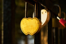 Lock For Keys In The Form Of Heart Hanging On The Fence, Love, V