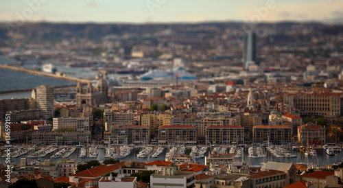 Photo sur Toile Europe Centrale Urban Panorama, Aerial View, Cityscape Of Marseille, France.