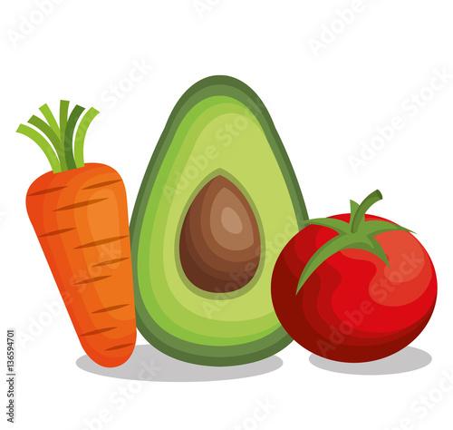 Fotografie, Obraz  healthy and fresh vegetables vector illustration design