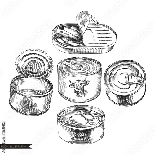 Set Of Hand Drawn Cans Of Food Isolated On White Background Canned