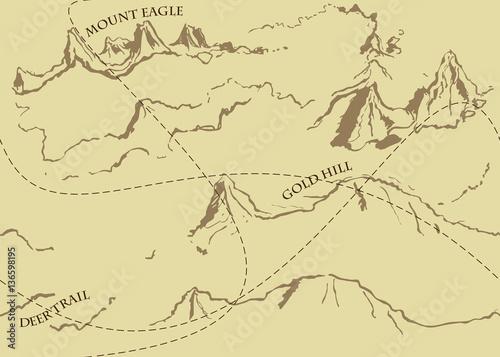 Zdjęcie XXL Starzejący się fantazja rocznika wzór z historyczną bajki mapą. Ręcznie rysowane bajki historyczne skarb mapę. Bezszwowe tło, wektor.