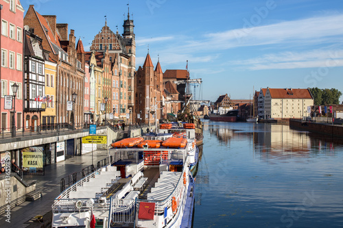 Photo  Gdansk, Danzig, the old medieval city in Poland on a sunny day.