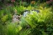 canvas print picture - Gartenteich von vielen Pflanzen umgeben
